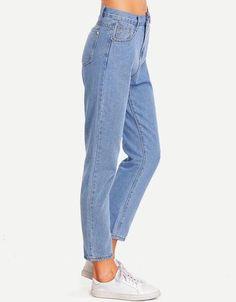 Women's High Waist Straight Leg Casual Cropped Denim Pants Jeans With Pockets Denim Pants, Cropped Jeans, Blue Jeans, High Jeans, High Waist Jeans, Plus Size Maxi Dresses, Short Sleeve Dresses, Boyfriend Jeans, Mom Jeans