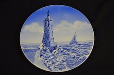 """Germany Hand Painted Blue White Lighthouse Waves Sailboat #4823 9 1/2"""" Raised #Unbranded"""