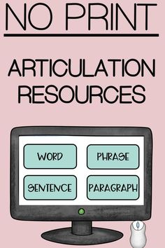 These no print articulation activities are leveled to meet your students needs. Includes words, phrases, sentences, and paragraphs. Perfect for tele therapy, parent carryover, or in-session tool. Most sounds included including blends and vocalic R. This interactive PDF is clickable, no app needed. Click for more info.