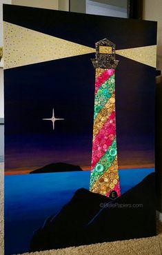 Lighthouse Button Art Buttons & Swarovski Flatback Rhinestones Acrylic Painting 24x36 $1499