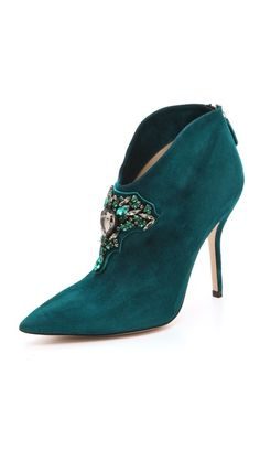 Paul Andrew Empress Embroidered Booties Pine Green Rich Crystals $1,295 #Shoes #Heels
