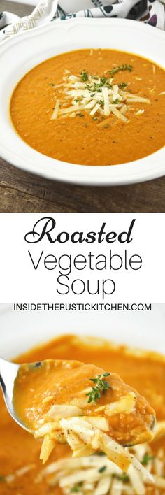 This Roasted Vegetable Soup is packed full of delicious flavour, made from roasted squash, red pepper, eggplant and garlic www.insidetherustickitchen.com
