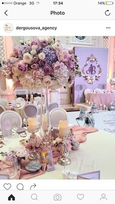 25 Ideas For Wedding Centerpieces Tall Vases Floral Arrangements Quinceanera Decorations, Wedding Reception Decorations, Wedding Themes, Wedding Designs, Wedding Table, Wedding Colors, Reception Ideas, Lavender Wedding Centerpieces, Table Decorations