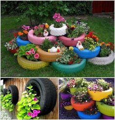 Old Tires as Decoration | Design  DIY Magazine I like this whimisical idea... would look neat in a child's play yard.