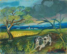 "Antonio Ligabue ""Cane con paesaggio"" (Dogs with landscape) - oil painting - 1953 Lot 109"