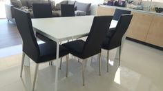 Contemporary dining set with Link matt glass extendable dining table and Livorno in black dining chairs. Delivered to our client in London. Contemporary Dining Sets, Black Dining Chairs, Extendable Dining Table, London, Link, Glass, Kitchen, Furniture, Home Decor