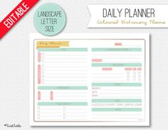 Editable DAILY PLANNER (Coloured Stationery Theme)