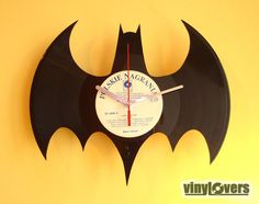 BATMAN handmade wall clock from used vinyl record 45.00, via Etsy.