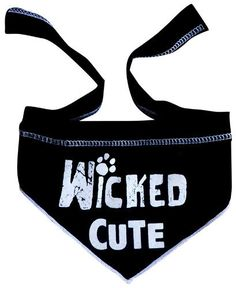"Cute ""Wicked Cute"" Bandana Scarf in color Black/White"
