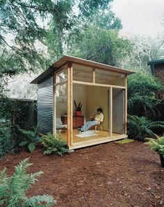 """Shed DIY - Edgar Blazons off-the-shelf """"prefab"""" project. This would work. Now You Can Build ANY Shed In A Weekend Even If You've Zero Woodworking Experience! Backyard Studio, Garden Studio, Backyard Retreat, Modern Backyard, Modern Gazebo, Backyard Cabin, Cool Sheds, Small Sheds, Modern Shed"""