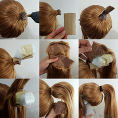 Want to make your ponytail wig more believable with top volume? Ponytail clips are cool but they can be uncomfortable after long hours of wearing. You can make seamless high ponytail with this method for characters like Kasumi.diy fashion ideas that Cosplay Hair, Cosplay Makeup, Cosplay Wigs, Cosplay Costumes, Cosplay Wig Tutorial, Costume Tutorial, Wig Styling Tutorial, Ponytail Wig, Diy Crafts