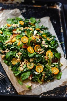 Kale, Date and Kumquat Salad with Brussels Sprouts, Hazelnuts and Mint