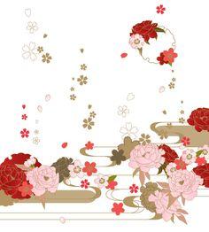 「フリー素材52 桜と牡丹に流水」/「模様田@更新終了」の漫画 [pixiv]