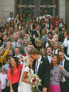 Such a fun photo of all the guest with the bride & groom! Want one of these someday!