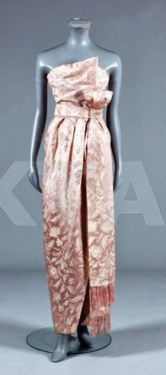 1950's Christian Dior - Vintage Christian Dior, London - Pink and silver brocaded satin dress - Kerry Taylor Auctions