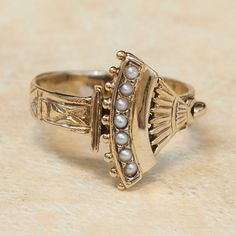 Vintage 14k Yellow Gold Seed Pearl Ring by SITFineJewelry on Etsy, $795.00