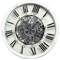 Vintage Gear Wall Clock, Roman Numerals, gears, black and white