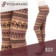 ☃️Christmas Fair Isle Reindeer Print Legging-P☃️ Super soft peach skin with 92% Polyester and 8% Spandex. This is a Plus Size that fits size 14-20. ⭐️PRICE FIRM  ⭐️BUNDLE&SAVE Pants Leggings