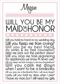 little saying to ask your gurl to be your bridesmaid!