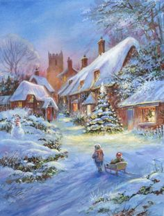 Leading Illustration & Publishing Agency based in London, New York & Marbella. Christmas Scenery, Magical Christmas, Christmas Art, Winter Christmas, Winter Szenen, Winter Magic, Christmas Drawing, Christmas Paintings, Winter Pictures