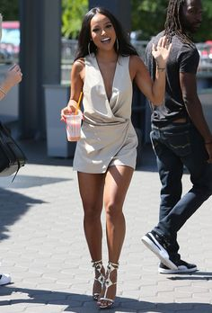 """Karrueche Tran arriving on the set of """"Extra"""" at Universal studios in Los Angeles on September 6, 2016"""