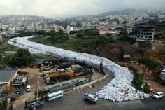 Here's a view of packed garbage bags in Jdeideh, Beirut, after Lebanon cancelled a plan to export its rubbish to Russia, sending Beirut's six-month garbage crisis back to square one on February 23