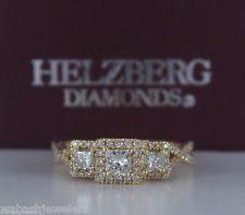 $2299 Helzberg 14K Yellow Gold Princess Cut Diamond Engagement Ring Band Size 7