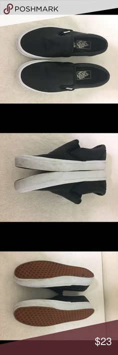 Vans Slip On Sneakers Black   White Size 7.5 Up for sale are these cute Vans e57444471