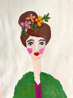 Female portrait in gouache - woman fashion hair make-up art illustration painting photography nursery children interior design country door XantheCS op Etsy