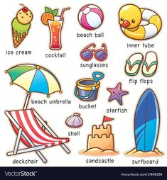 Find Vector Illustration Cartoon Summer Vacation Vocabulary stock images in HD and millions of other royalty-free stock photos, illustrations and vectors in the Shutterstock collection. Thousands of new, high-quality pictures added every day. English Vocabulary Words, Learn English Words, English Lessons, English Grammar, Learning English For Kids, English Language Learning, Teaching English, Kids Learning, Picture Dictionary