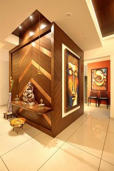 Discover thousands of images about foyer and lobby design & foyer and lobby ideas online - TFOD Pooja Room Door Design, Foyer Design, Lobby Design, Entrance Design, Ceiling Design, Entrance Foyer, Interior Design Pictures, Office Interior Design, Interior Decorating