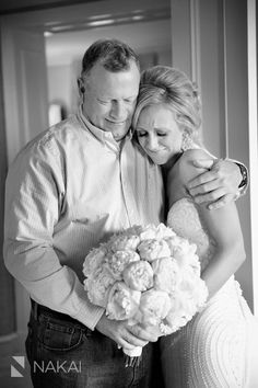 Sweet photojournalism wedding day moment between beautiful bride and her father - getting ready at the Drake Hotel Chicago - Flowers: Pink Peonies bouquet - Fine art picture by Chicago wedding photographer: Nakai Photography www.nakaiphotography.com