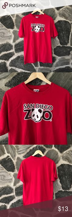 vtg | red | sandiego zoo graphic t-shirt vintage | red san diego zoo souvenir t-shirt  size: large - runs true to sizzle condition: good — normal cracking of the letters from wear + wash - no big deal, it happens — no other flaws.  still extremely vibrant red color, fits great, comfortable & relaxed.   — #vintage #vtg #red #sandiego #california #Zoo #souvenir #vacation #travel  #christmas #shopping #gift #present #blackfriday #cybermonday #cyberweek #sale #shopmycloset Vintage Tops Tees…