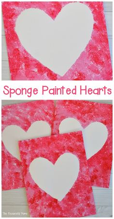 Create a Valentine's art project using sponges to paint a heart. day decorations for classroom for kids Sponge Painted Hearts Valentine's Day Art Project day decorations for classroom toddlers<br> Preschool Valentine Crafts, Kinder Valentines, Valentine Theme, Valentines Day Activities, Valentines Art For Kids, Printable Valentine, Homemade Valentines, Valentine Wreath, Valentine Box