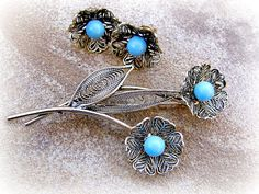 Brooch and Earring Set Filigree Floral Demi Parure Vintage Antiqued Gold  Openwork stylized leaves centered with faux turquoise round beads.