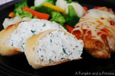 Garlic herb spread - what if I used light whipped cream cheese and stuffed in mushroom or zucchini and then broiled? Rolled around chicken? Added to whole wheat pasta?