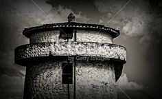 Ruinas en blanco y negro, tanque de agua, ladrillos de barro, de la Ciudad de Villa Allende, Provincia de Córdoba, Argentina