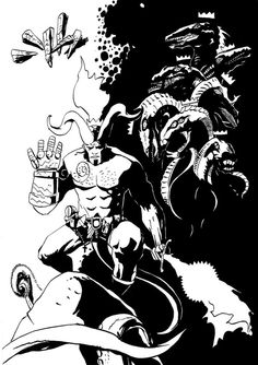 Anung Un Rama  by ObalofSerbia  Drawing from my old profile - palerider12 - so i decided to upload it to my new profile. Done with pen and brush.#hellboy #hell #comicbook #darkhorse #hellboycomic #fanart #mikemignolla