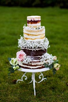 beautiful naked cake with florals by Cherub Couture Cakes | www.onefabday.com
