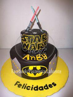 Star Wars y Batman Pastel de Fondant