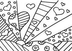 Web Chest: Romero Britto Coloring Pages - Giuditta Luddy Colouring Pages, Adult Coloring Pages, Coloring Sheets, Coloring Books, Arte Elemental, Classe D'art, Arte Pop, Art Classroom, Heart Art
