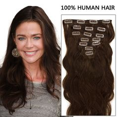 16 Inch Cascading Body Wavy Clip In Remy Hair Extensions Chocolate Brown