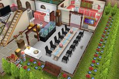 house one / ground floor / sims freeplay / dining room idea /  house for 4 people (3 girls and 1 boy)