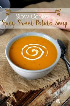 Slow Cooker Spicy Sweet Potato Soup | Easy Crock Pot soups are so good in the fall and winter! This healthy Sweet Potato soup makes a complete meal with some crusty bread and a salad! | See the recipe on TodaysCreativeLife.com