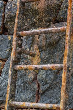 Close up of a very sea weathered and rusty ladder running up the seawall in a small bay near St Helier in Jersey Wabi Sabi, Rust Never Sleeps, Rust In Peace, Jacob's Ladder, Peeling Paint, Rusty Metal, Rust Color, Handmade Pottery, Handmade Ceramic
