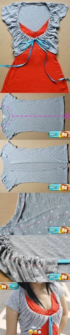 Another tutorial for the T-shirt shrug. This one draws a slightly rounded out line along the cut neck line.