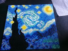 i made a rendition of starry night with perler beads. what do you think?