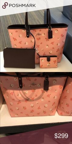 Coach floral reversible tote&wallet&wrisrlet Guaranteed authentic Bundled set: Handbag: Product details Printed coated canvas and smooth leather Reversible Removable pouch Handles with 9 drop (L) x 11 (H) x 6 (W) Coach Bags Shoulder Bags Coach Handbags, Coach Bags, New York Bridge, Crochet Chicken, Pouch, Wallet, Fashion Design, Fashion Tips, Fashion Trends
