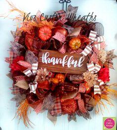 Deco Mesh Fall Wreath Pumpkin Wreath Fall by VivsCustomWreaths