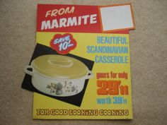C1960S FROM MARMITE BEAUTIFUL SCANDINAVIAN CASSEROLE FOR 29'11 ADV SHOWCARD | eBay